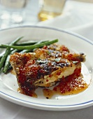 Grilled poussin with chilli marmalade