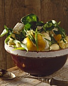 Conchiglie pasta with goat's cheese, cress and oranges