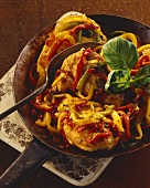 Chicken supreme with roasted peppers