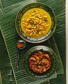 Cashew curry and prawn curry (India)