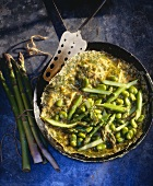 Omelette with asparagus and broad beans