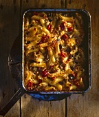 Pasta bake with aubergines and pepper