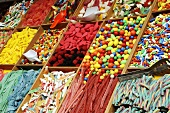 Assorted sweets on a market stall