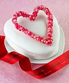 A cake with a heart for Valentine's Day