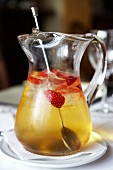 Champagne punch with strawberries