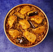 Indian aubergine and potato curry