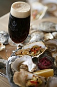 Grilled oysters with dark beer