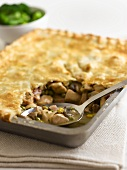 Chicken and mushroom pie with puff pastry crust