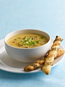 Chicken soup with savoury sticks