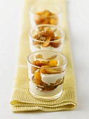 Apricot and yoghurt dessert in three glasses