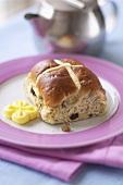 Hot cross bun with butter
