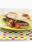 Sausage, tomato and onion sandwich