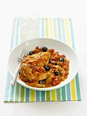 Stufato di pollo (Braised chicken with tomatoes & olives)