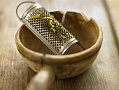 Lemon zest on grater