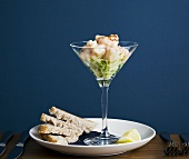 Shrimp cocktail with bread