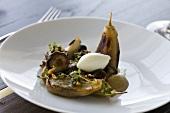 Aubergine salad with mushrooms, pine nuts and mascarpone