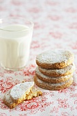 Rose biscuits with a glass of milk