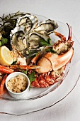 Seafood platter: lobster, crab and oysters