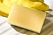 Sponge and rubber gloves