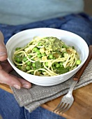 Spaghetti with Thai aubergine, peas and mint pesto