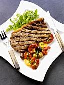 Grilled beefsteak with vegetables