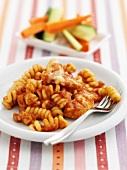 Spiral pasta with chicken