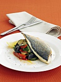 Fried sea bream on ratatouille