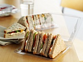 Shop-bought sandwiches in an office