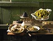 Gooseberry pie and gooseberries on scales