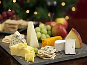 Festive cheese platter with crackers (Christmas)