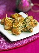 Salmon kebabs with herb butter (Christmas)