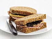 Wholemeal ham, cheese and black current jam sandwich