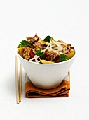 Asian salad with meat and bean sprouts