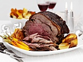 Festive roast beef with roast vgetables