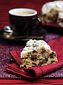 Christmas fruit cake with an espresso coffee
