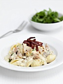 Shell pasta with a creamy bacon sauce
