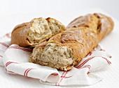 Farmhouse bread on a kitchen towel