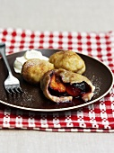 Plum dumplings on a plate