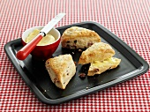 Scones with smokey bacon, butter