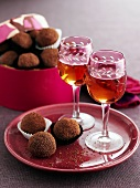 Chocolate truffles and two glasses of sherry
