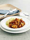 Chicken ragout with almond flakes and couscous (Marocco)