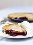 Cherry berry pie with vanilla ice-cream