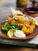 Fried prawns with dip and lambs lettuce (Spain)