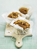Three wholemeal muffins