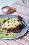 Chicken breast with saffron parsley sauce and red rice