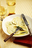 Ravioli with spinach filling