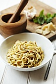 Tagliatelle with almond and tomato pesto