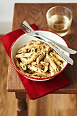 Penne with almond pesto