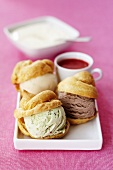 Profiteroles with pistachio, chocolate and vanilla ice-cream