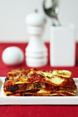 A slice of aubergine and mozzarella lasagne